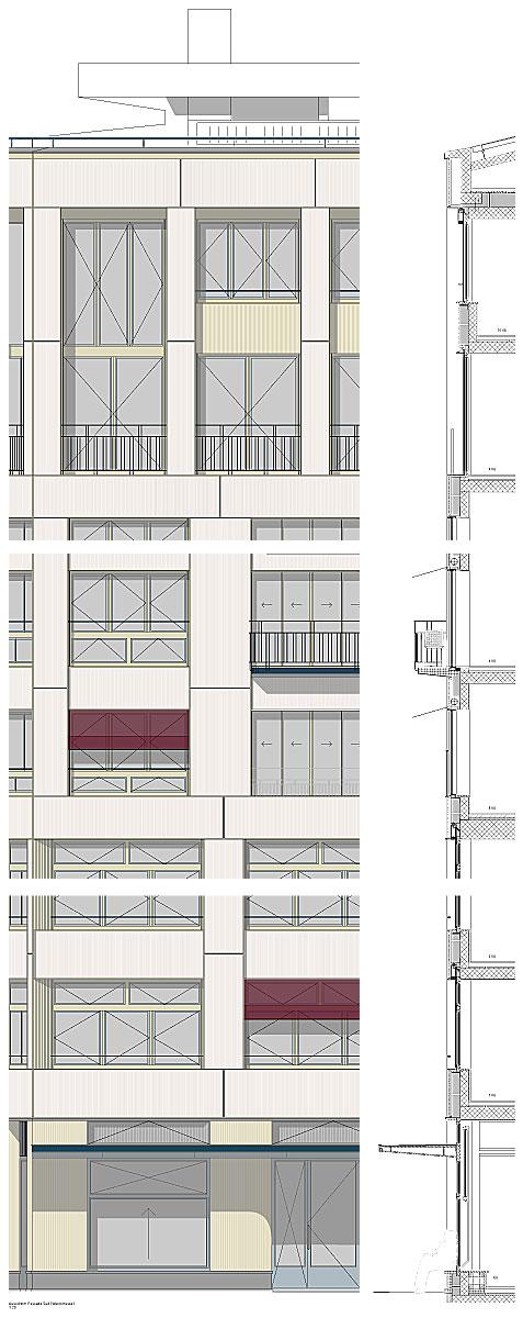 Hohes Haus West: Fassadenkonstruktion